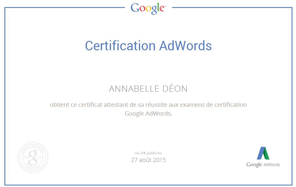 Certification Adwords-Annabelle